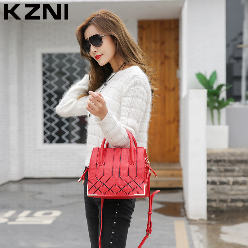 KZNI Real Leather Casual Tote Bag Small Crossbody Bags for Women Purses and Handbags Girls Designer Handbags High Quality 1376 kzni real leather tote bag high quality women leather handbags top handle bags purses and handbags bolsa feminina pochette 9057
