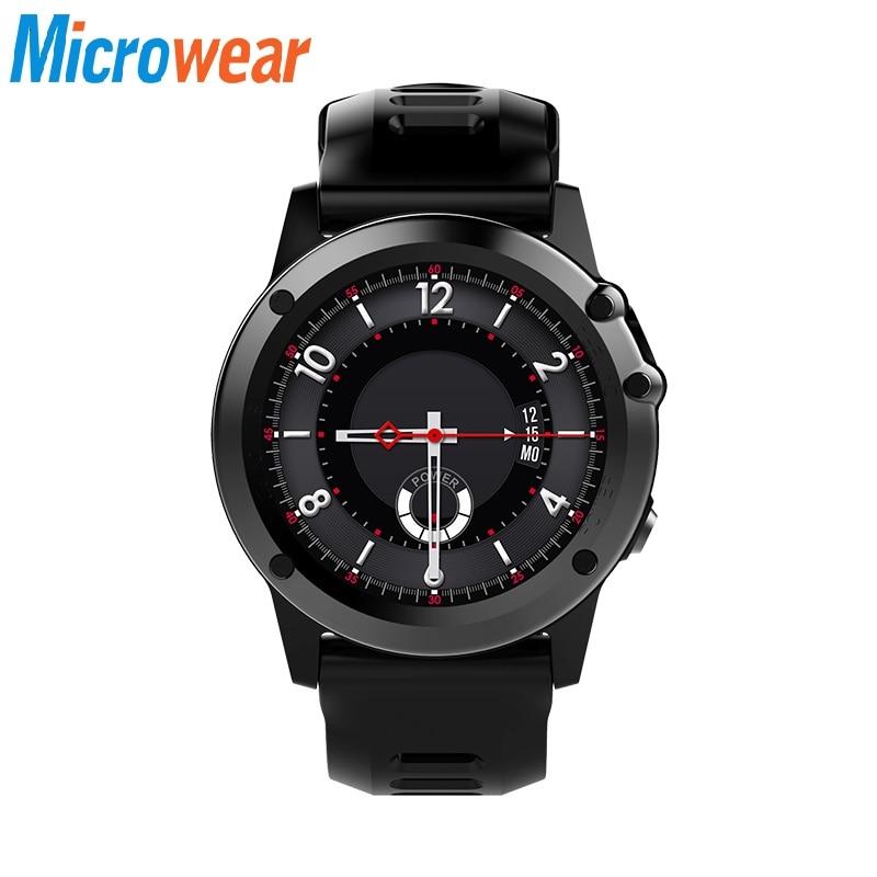 Microwear H1 smart watch Мужчины Водонепроницаемый Шагомер Smartwatch gps 3G Wi-Fi Bluetooth сердечного ритма smart watch наушники высотомер