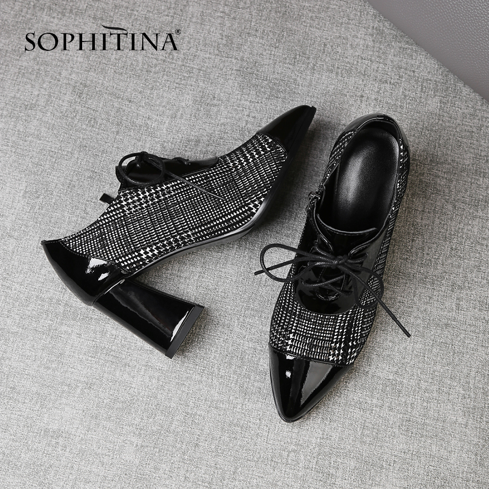 SOPHITINA New Women s Casual Pumps High Square Heel Genuine Leather Lace Up Pointed Toe Shoes
