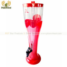 3 Liters Blue Clover Pattern Beer Tower Dispenser with Ice Tube BT13