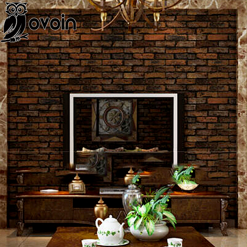Vintage Three Dimensional Embossed Effect Brick Wall Paper