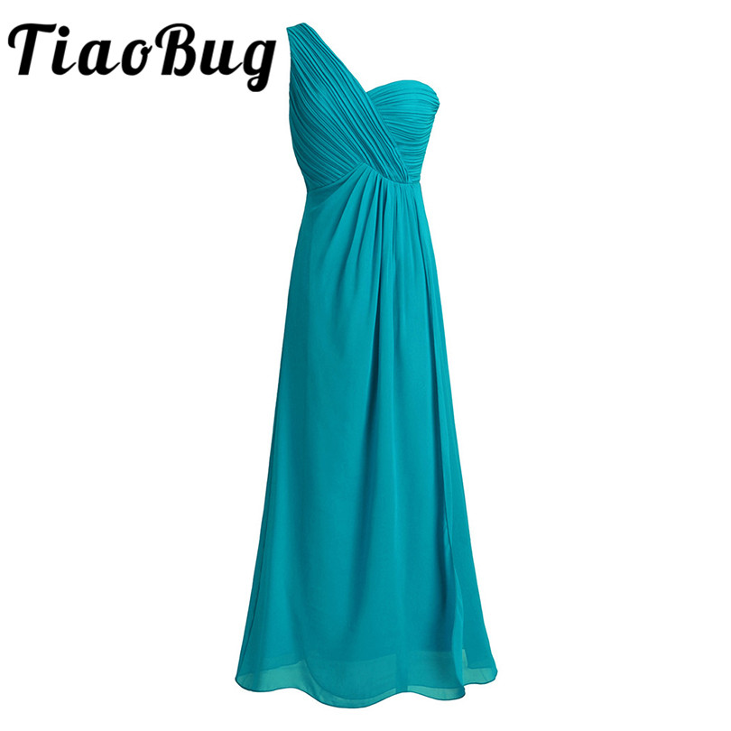 TiaoBug One Shoulder A Line Bridesmaid Dresses Long Chiffon Wedding Guest Princess Floor Length Teal Navy Blue Pink Dresses
