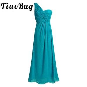 Image 1 - TiaoBug Een Schouder Een Lijn Bruidsmeisjekleding Lange Chiffon Bruiloft Gast Prinses Floor Lengte Teal Marineblauw Roze Jurken