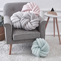 6 Colors Plush Lovely Knot Braided Cushion Ball Hand Knotted Creative Chunky Pillow Home Decor Brief Decor Pillow 35x35cm