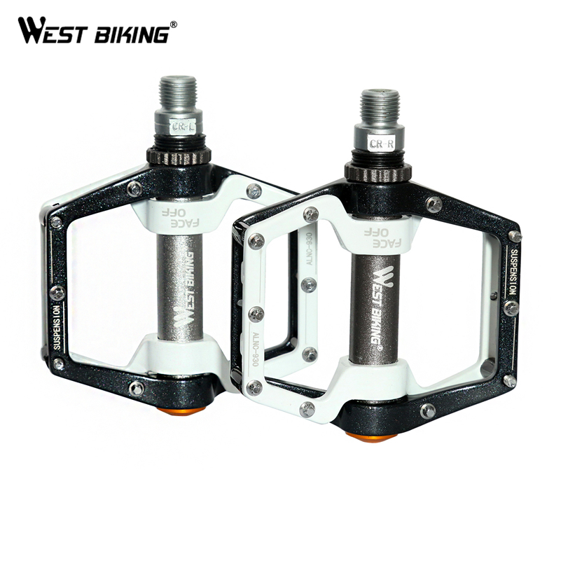 цена на WEST BIKING Cycling Pedals Fixed Gear MTB BMX Bicycle Pedals 9/16 Foot Pegs Outdoor Sports DHCrank MTB Road Bike Cycling Pedals