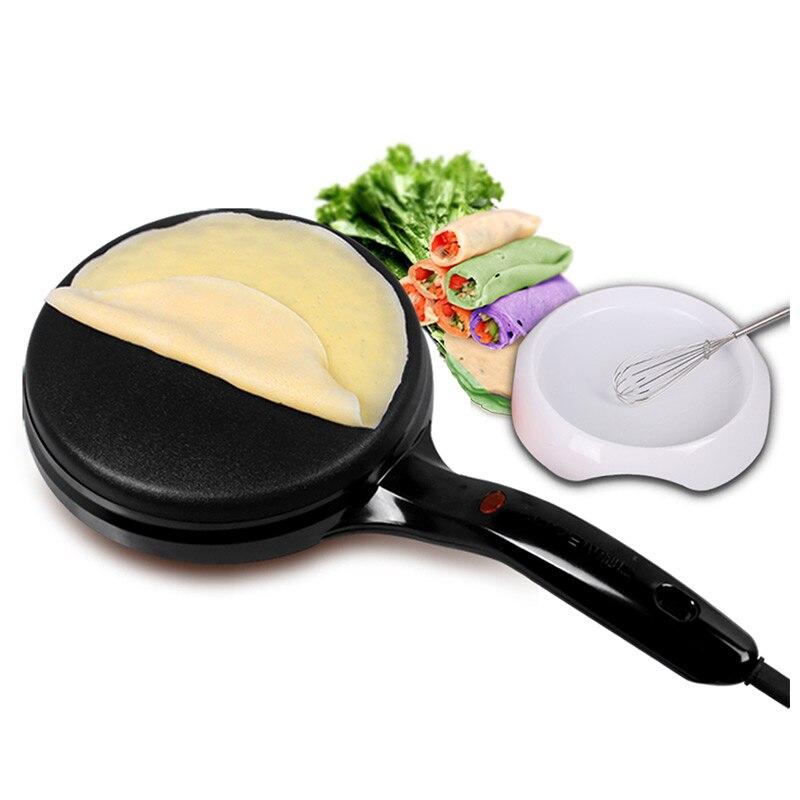 220 V électrique crêpière multifonctionnel plat de cuisson chinois printemps rouleau Machine crêpe Pizza y compris fouet et bol de mélange