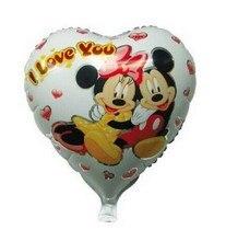 18 дюймов сердца минни микки маус шары гелия я тебя люблю фольгированные шары для душа ребенка, Минни маус ну вечеринку поставки