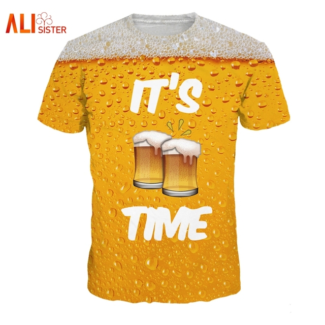 Alisister Beer Print T Shirt It's Time Letter Women Men Funny Novelty T-shirt Short Sleeve Tops Unisex Outfit Clothing Dropship 1
