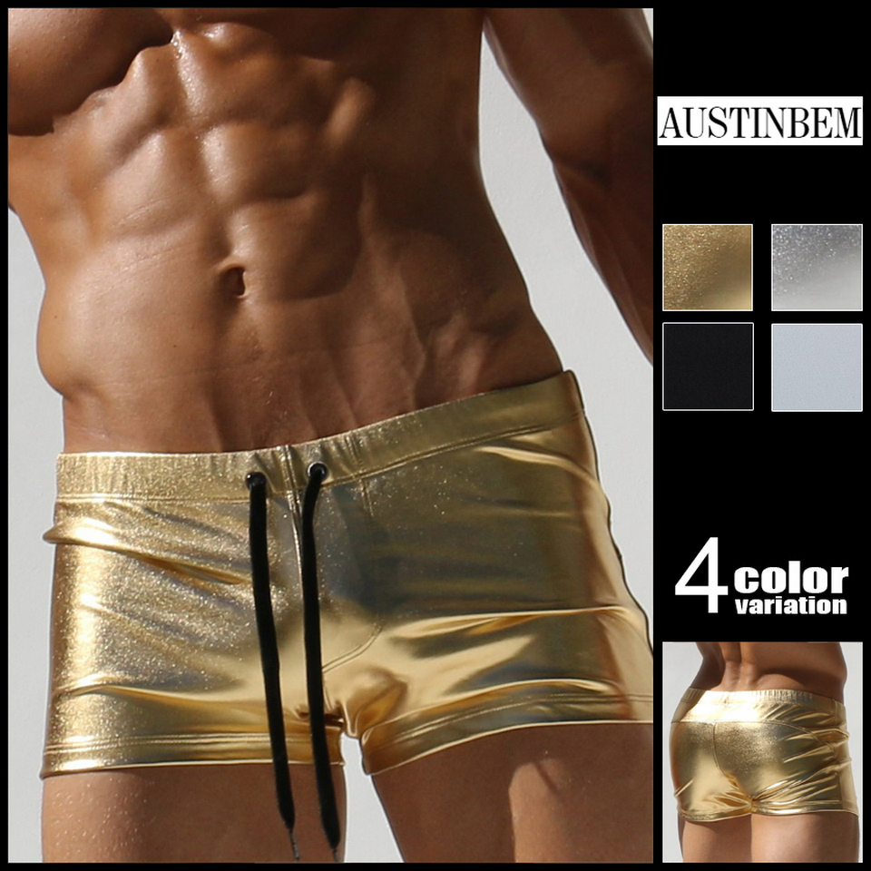 Austinbem banho masculino metálico impressão de ouro maiô troncos de natação dos homens cuecas sungas de praia homens 23805