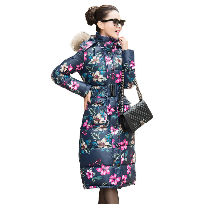 Long Parkas Winter Women 2017 New Brand Quilted Jacket Female Down Cotton Padded Coat Winter Warm Print Floral Women's Parka pregnant women of han edition easy to film a word long woman with thick cotton padded clothes coat quilted jacket down jacket