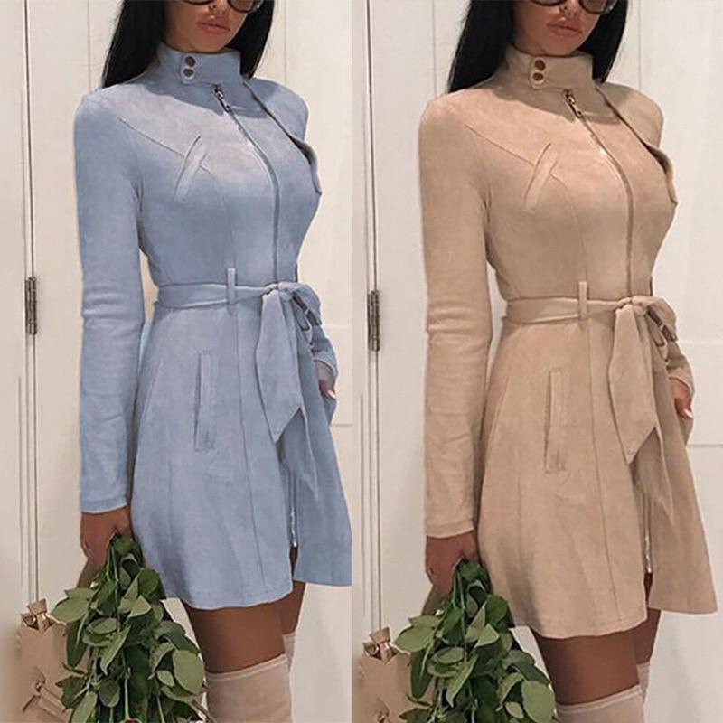 2019 Buckskin Women Trench Fashion Slim Zipper Long Outer Wear Fashion Belt Women Coat Casual Street Wear Trench Coat For Women