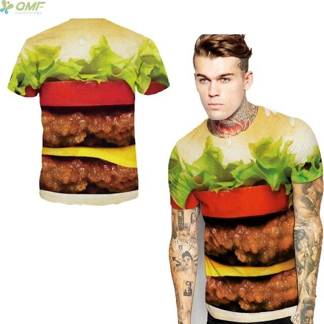 d49e710ea6a Interesting Burger King T-shirt Casual Short Sleeve TShirt O-Neck Huge  Hamburger Tops Couples Trend Tshirt Streetwear Tees