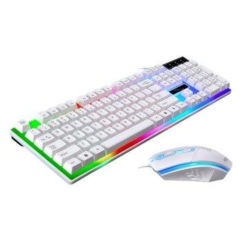 Игры световой Проводная usb-мышь и клавиатура костюм с радугой Подсветка светодиодный свет эргономичная клавиатура с подсветкой Мышь