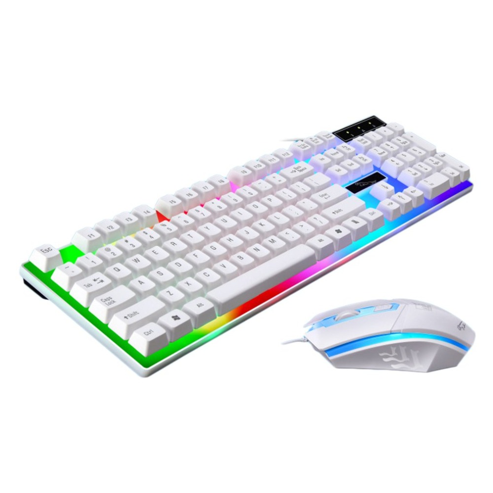 Game Luminous Wired USB Mouse and Keyboard Suit With Rainbow Backlight LED Lights Ergonomic Mechanical Keyboard Gaming Mouse