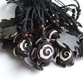 12pcs Wax Cord Yak Bone Resin Black Eddy Tortoise Turtle Charm Pendant Necklace