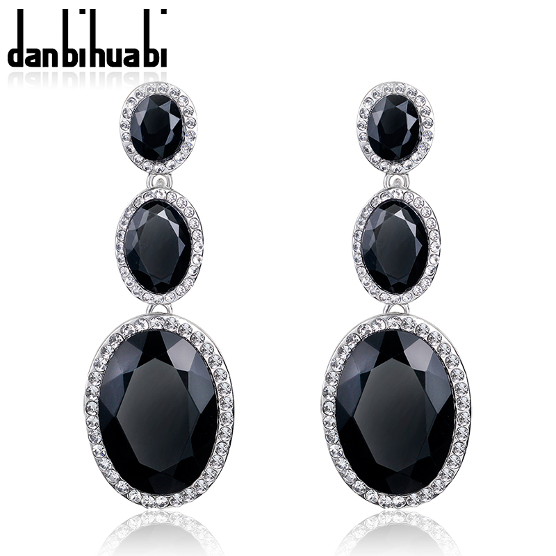 danbihuabi Partihandel New Fashion Trendigt Hot Sale Rhinestone Crystal Black lång dangleörhängen för Women Girls Smycken