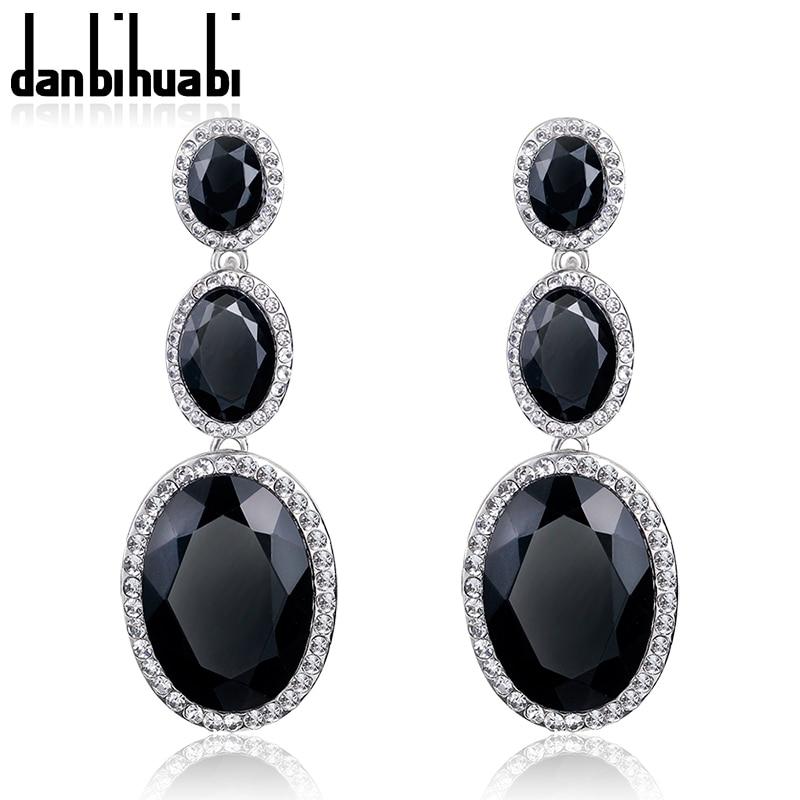 danbihuabi Groothandel Nieuwe mode Trendy Hot Sale Rhinestone Crystal zwarte lange bengelen oorbellen voor vrouwen meisjes sieraden