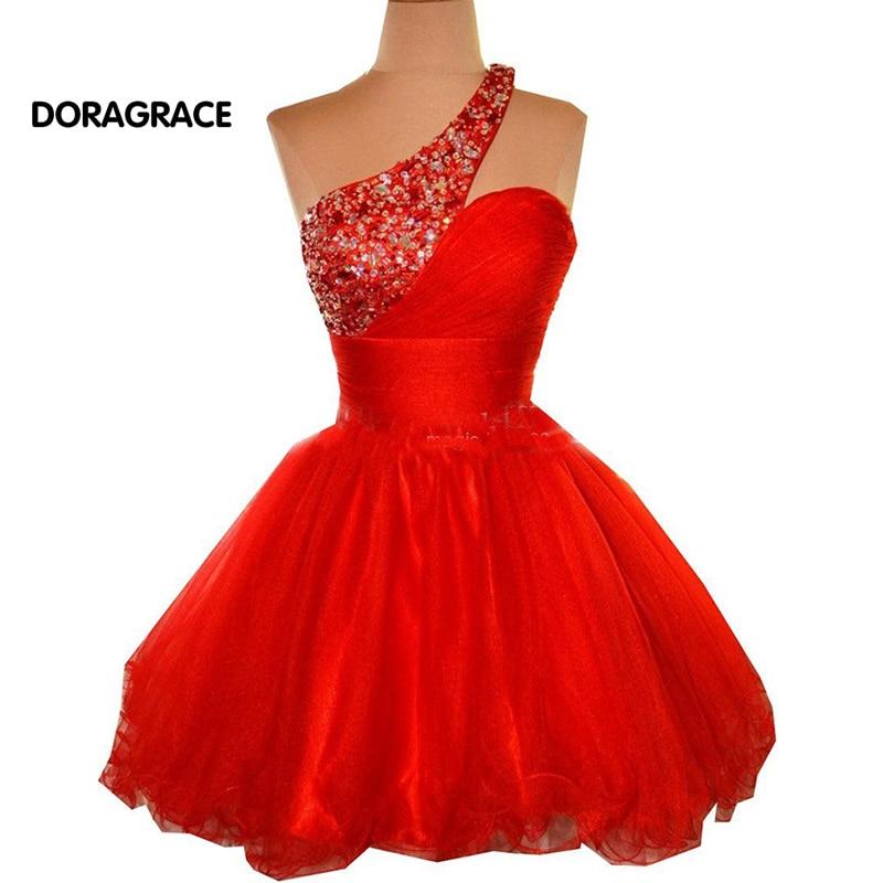 New Fashion One Shoulder Crystal Beaded Short   Cocktail     Dresses   Tulle Party   Dress   vestido de festa curto DGC009