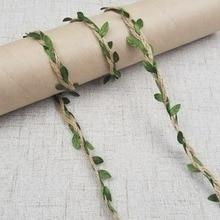 5 מטר\חבילה טבעי קנבוס סרט ירוק עלים רול בציר כפרי תיבה/פרחים חבל Mariage חתונה ספקי צד