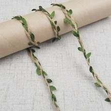 5M/lot Natural Hemp Ribbon Green Leaves Roll Vintage Rustic Wedding Decoration Box / Flowers Rope Mariage Wedding Party Supplies