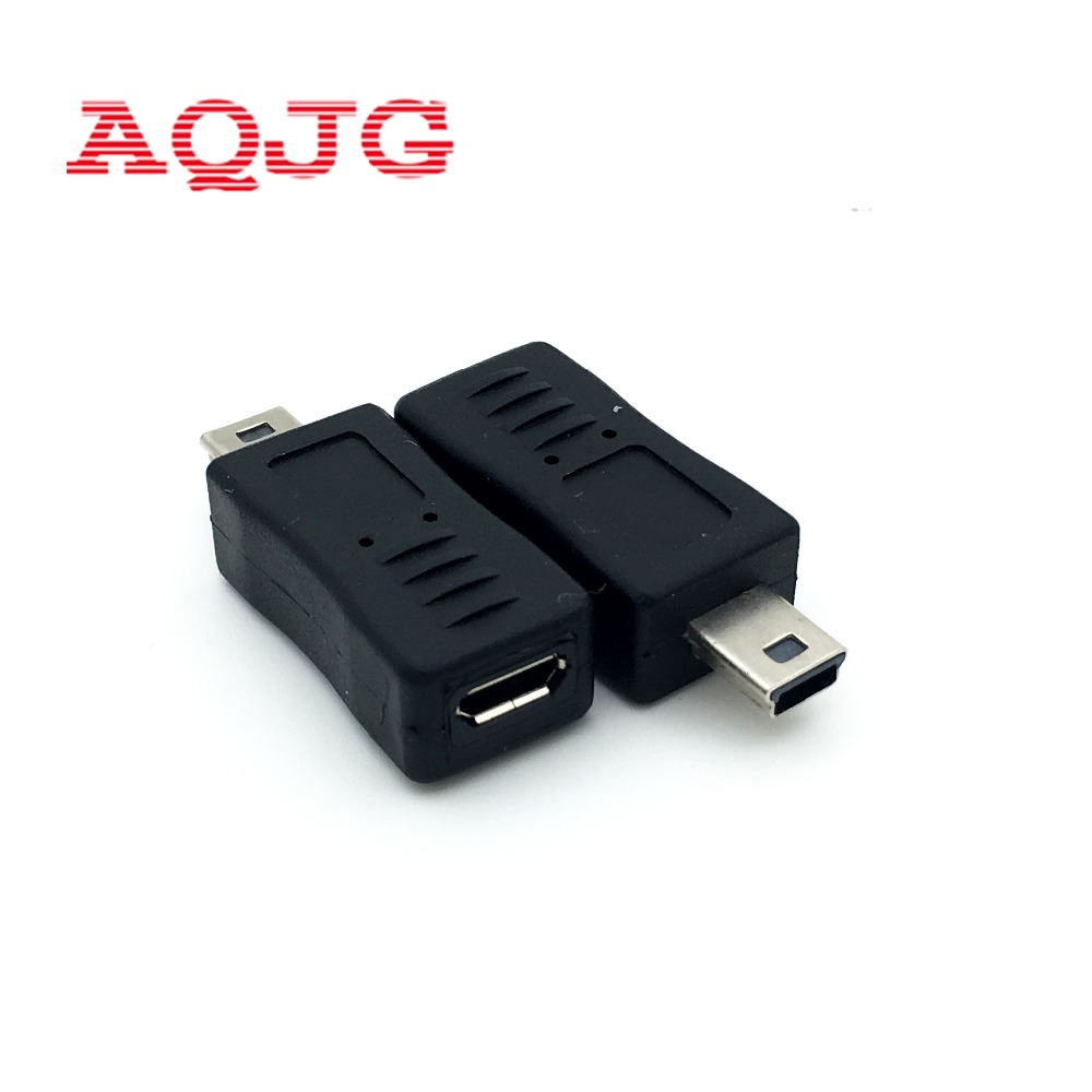Micro USB Female To Mini USB Male Adapter Connector Converter Adaptor V3 To V8 Adapter Mini 5p Black For Phone Htc AQJG