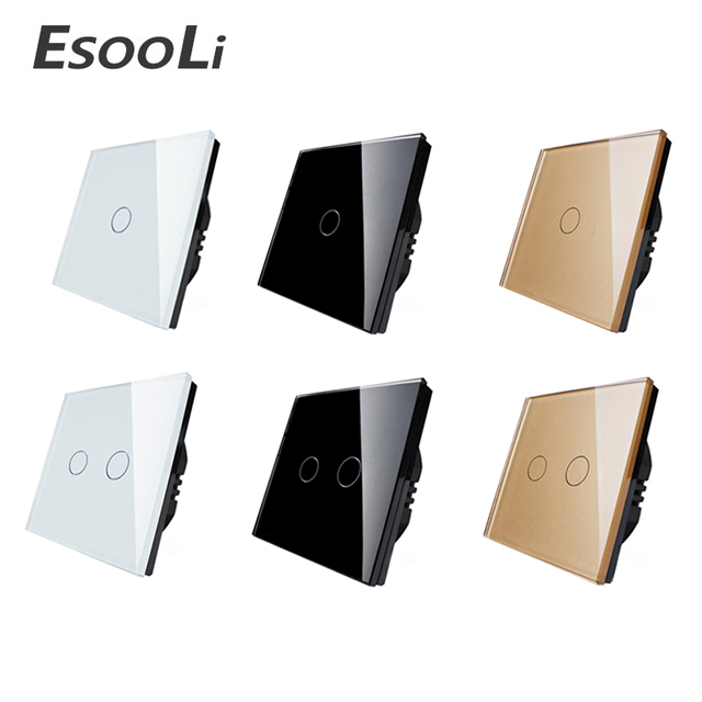 Esooli EU/UK standard Touch Switch White Crystal Glass Panel Touch Switch 1 Gang 1 Way Light Wall Only Touch Function Switch 2017 new arrived uk wall switch ivory white crystal glass panel vl c301 61 light touch switch 1 gang 1 way
