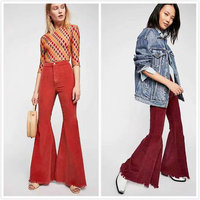 New Women Solid Corduroy Flared Pants Vintage High Waist Casual Fashion Pants Autumn Winter All matched Female Trousers