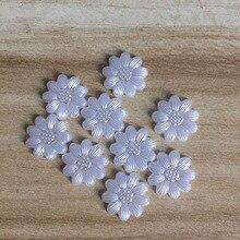 Блестящий 100 шт./лот, белый Подсолнух в форме цветка, скрапбук, искусственный жемчуг, бусины для шитья, пуговицы, сделай сам, материал, фурнитура BV212