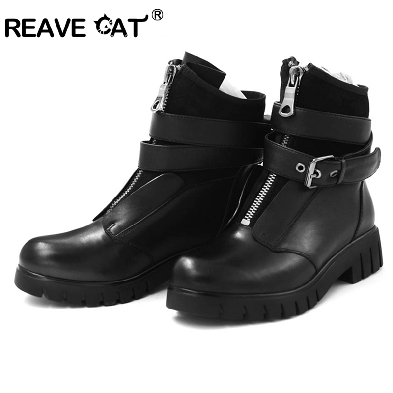 REAVE CAT 2019 New Spring autumn Shoes woman Ankle boots Women genuine leather boots Zapatos de
