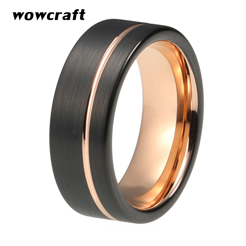 Women Men Tungsten Wedding Ring Rose Gold Black Plated with Offset Line Brushed Finish Engagement Rings Pip Cut