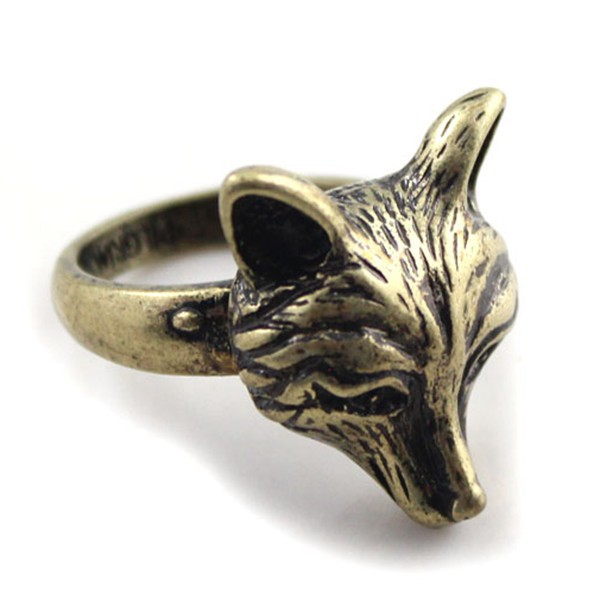 free shipping 6pcs/lot fashion jewelry accessories vintage metal animal fox head rings for women 17mm 18mm necklace
