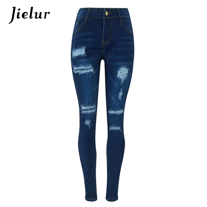 2017 Europe New Trousers Fashion Slim Jeans for Women Ripped Hole High Waist Jeans Cool Female Dark Blue Pencil Pants S-2XL Size 2017 new jeans women spring pants high waist thin slim elastic waist pencil pants fashion denim trousers 3 color plus size
