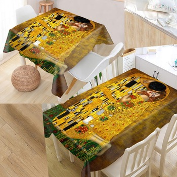 The Kiss Gustav Klimt Custom Table Cloth Oxford Print Rectangular Waterproof Oilproof Table Cover Square Wedding Tablecloth