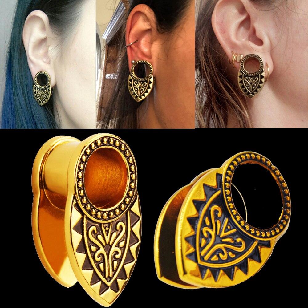 BOG-1Pair Stainless Steel Tribal Gold Den Ear Weight Ear Plug Tunnel Ear Expander Ear stretcher Body Piercing Jewelry 8-16mm