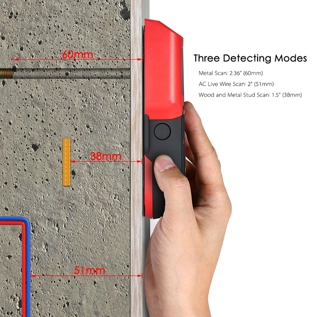 3in1 Professional Stud Finder Wall Detector Metal Wires Wood Studs Walls Scanner