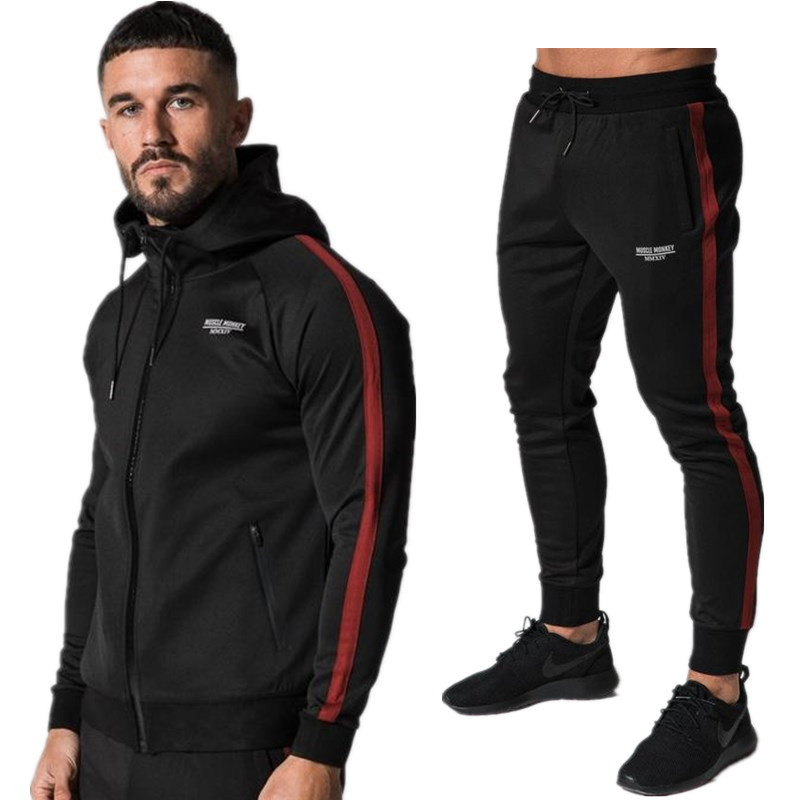 2018 New Design Autumn Males Gyms Piece Units Cotton Thick Pullover Hoodies + Pants Sportwear Swimsuit Male Plus Velvet Model Hoodies