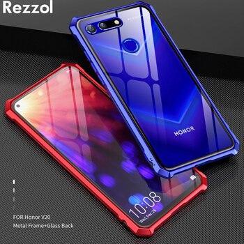 Huawei Onur için Görünüm 20 Case Şeffaf Temperli Cam arka kapak Metal Çerçeve Durumlarda Onur V20 View20 telefon kılıfı fundas