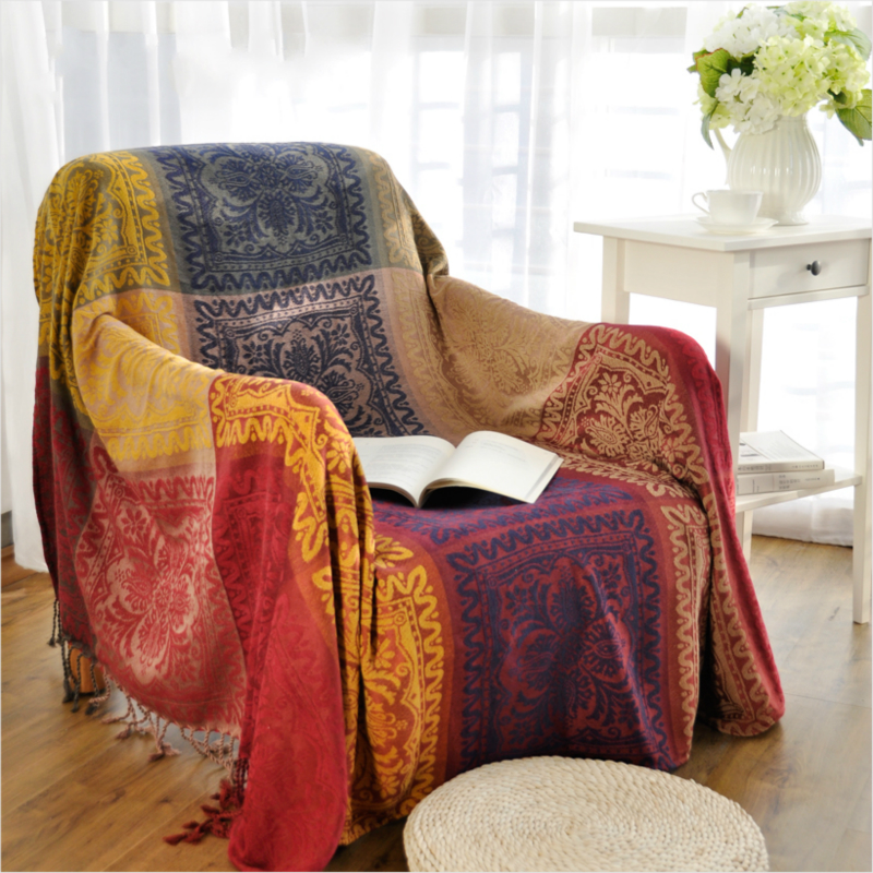 Bohemian Chenille Sofa Blanket Cover decorative slipcover Throws on Sofa/Bed/Plane Travel Plaids stitching blankets Sofa Towel муфты ганзена