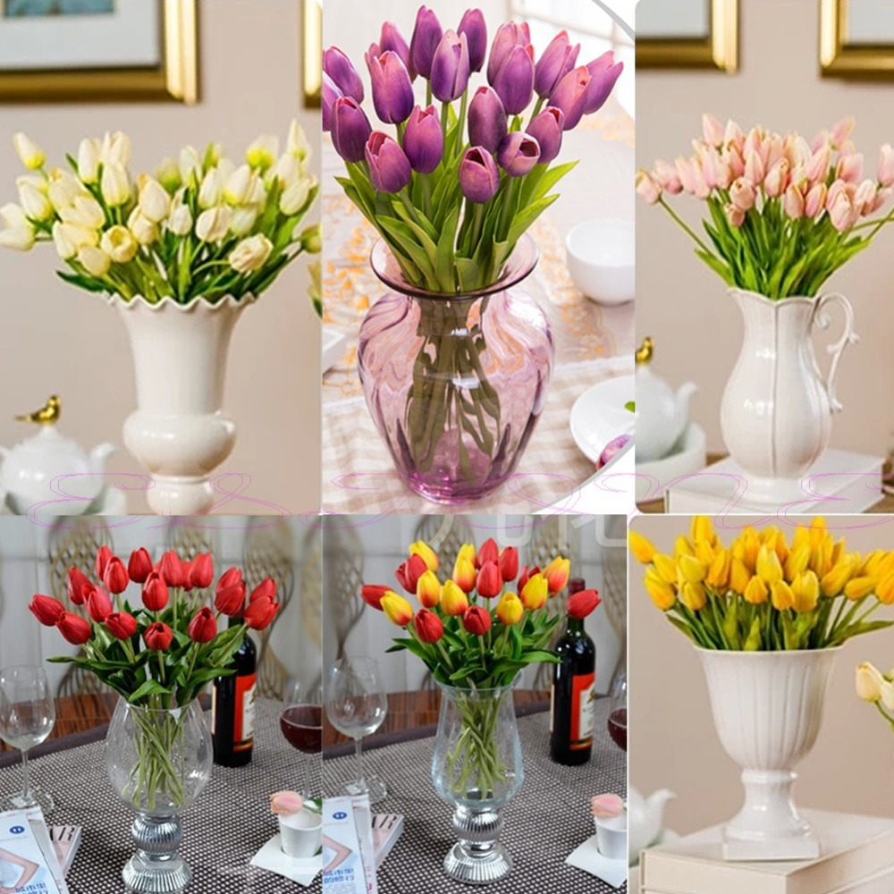 Fashion 12pcs Tulip Artificial Flower Wedding Latex Home Bouquet