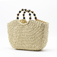 2019 New Bead handle moon bag straw womens handmade  woven basket wicker Summer Grass Bags