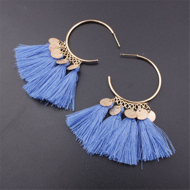 Lacoogh 2017 Ethnic Bohemia Drop Dangle Long Rope Fringe Cotton Tassel Earrings Trendy Sector Earrings for Women Fashion Jewelry 1