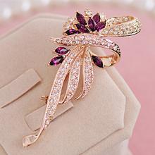 Nowa sprzedaż elegancka kobieta broszki moda Retro kryształowe broszki szpilki moda ubrania do biżuterii akcesoria sprzedaż hurtowa tanie tanio Queenjoy CN (pochodzenie) Ze stopu cynku PLANT BS059 Kobiety TRENDY Metal