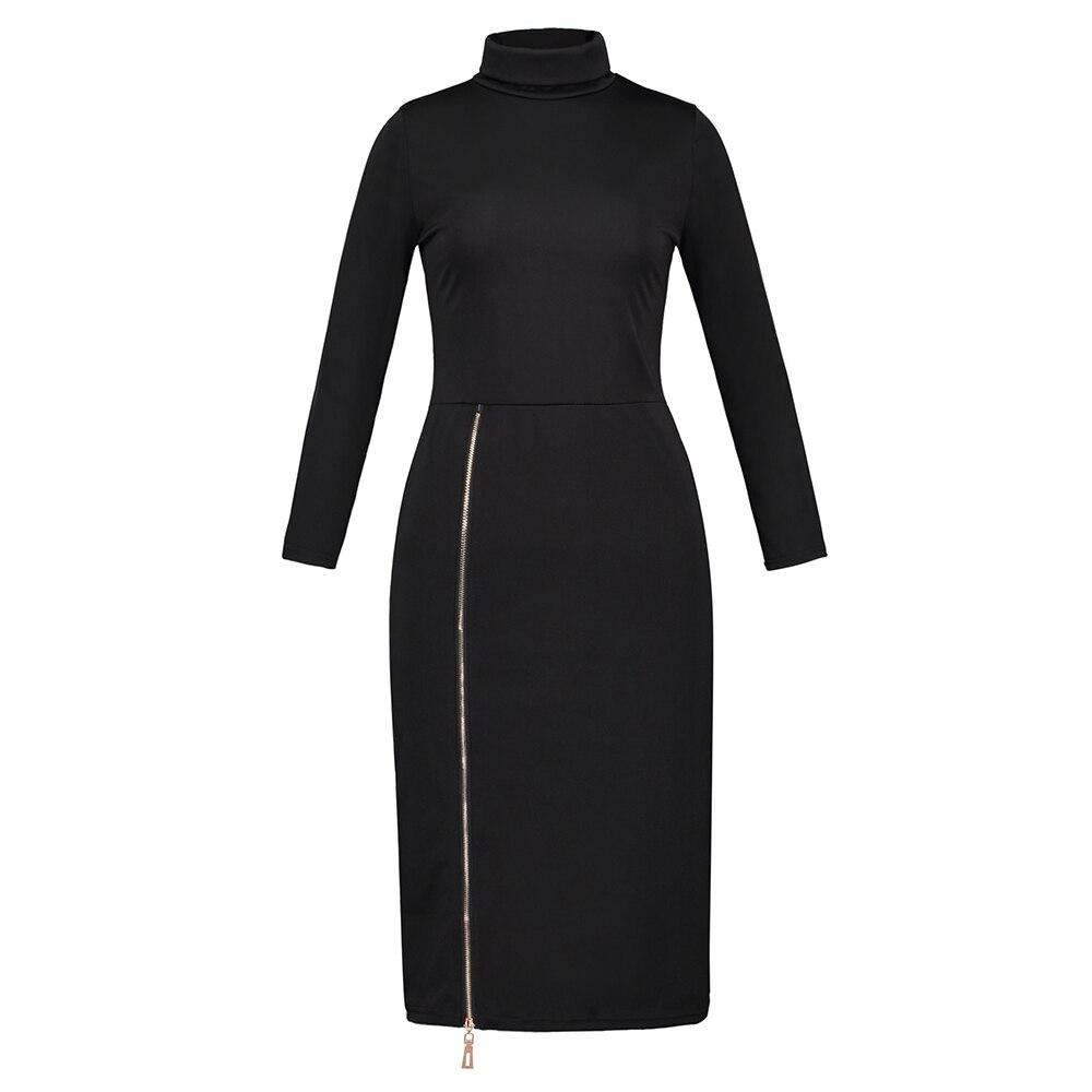 Long dress women turtleneck long sleeve zipper maxi knitted bandage dress red black khaki mid-calf casual office winter dress