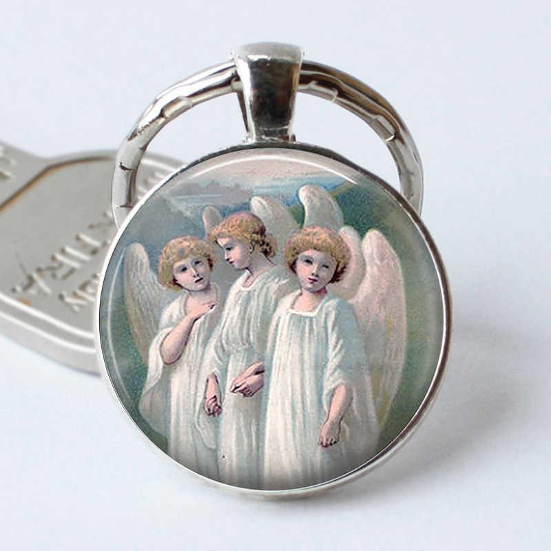 แปลกๆ Angels พวงกุญแจจี้ Holy Angels ศิลปะพวงกุญแจ Cabochon ของขวัญโบสถ์ Faith Hope เทวดาแก้วปีกเปิด Key Chain