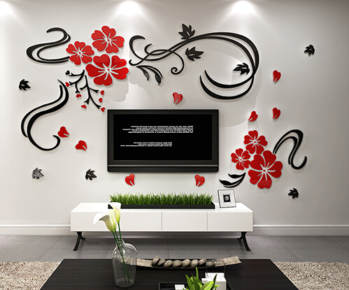 Free shipping 3D Flower vine acrylic crystal TV wall stickers Three-dimensional background wall sofa wall stickers