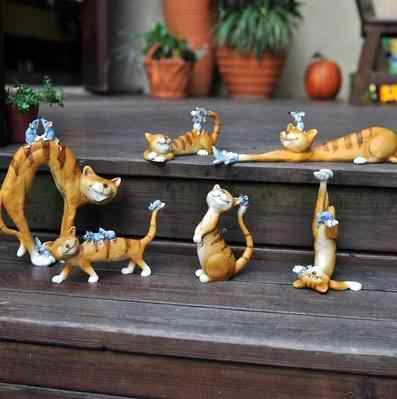 The cat and the mouse resin crafts, cartoon animal study, bedroom decoration