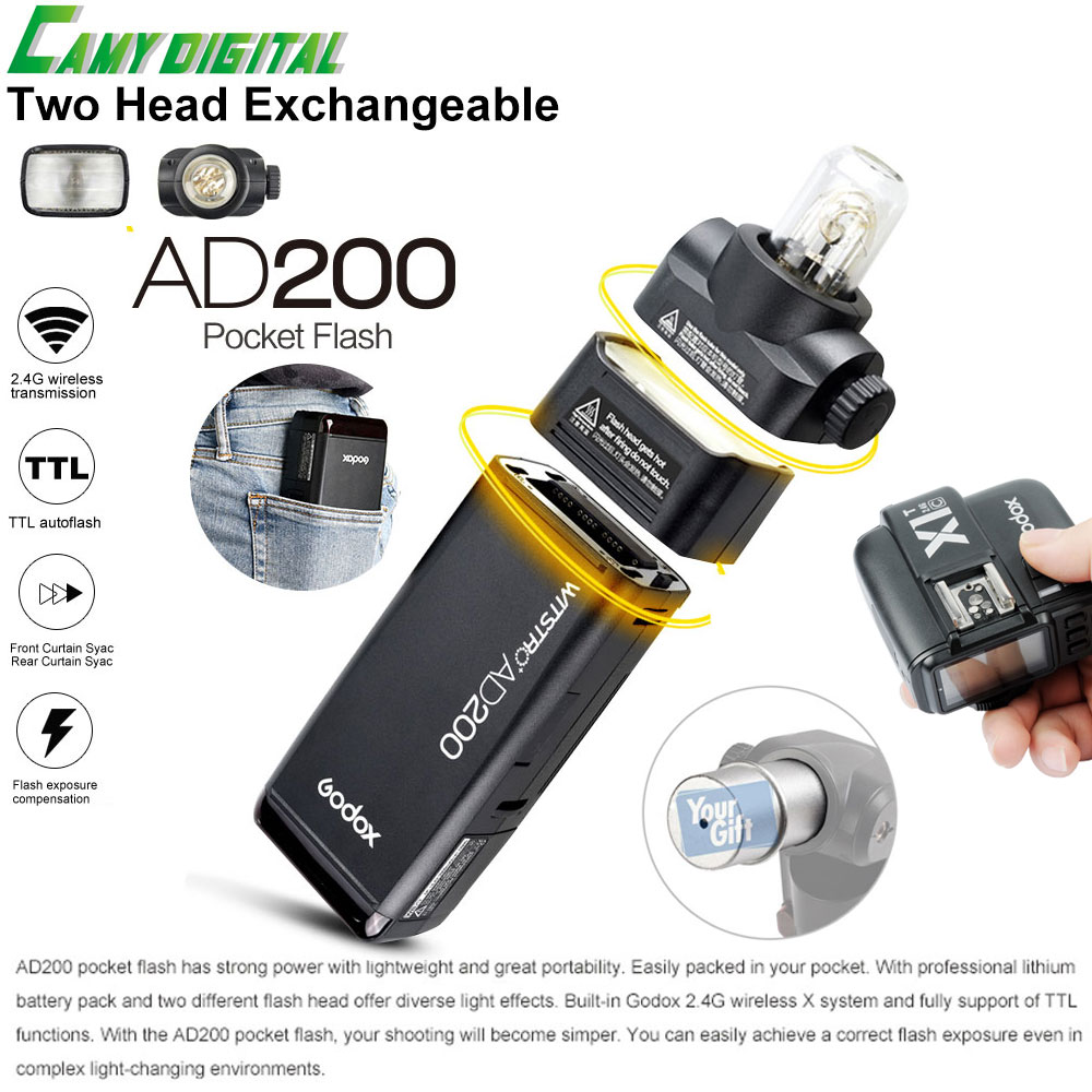 Godox Pocket Outdoor Flash AD200 Convertible cap 2.4G Wireless 200WS TTL HSS 1/8000s sync+X1T-C/X1T-N/X1T-S/X1T-O/X1T-F Kit new arrival godox pocket flash ad200 ttl 2 4g wireless x system hss 1 8000s double head with 2900mah lithium battery pack flash