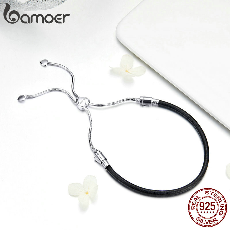 Image 4 - BAMOER Authentic 925 Sterling Silver Classic Black Leather Lace Up Chain Bracelets for Women Sterling Silver Jewelry SCB120-in Chain & Link Bracelets from Jewelry & Accessories