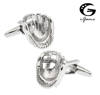 IGame Men's Cuff Links Novelty Silver Color Baseball Gloves Design Brass Material Best Gift For Men Free Shipping
