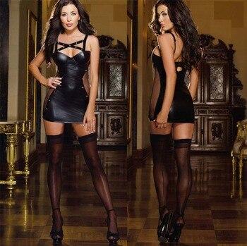 Black Latex Cat Costume Dress Sex Suit